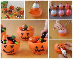 Des coupes de bonbons en forme de citrouille