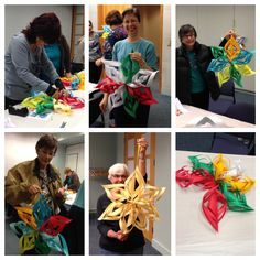 Create a Paper Star | Topeka and Shawnee County Public Library - I loved doing this program AND these are lovely, low-cost decorations for any occasion -- just change the colors to suit!