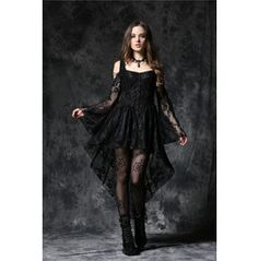 Dw053 Bk Gothic Gothic Ghost Dovetail Lace Dress With Button Row $76.99