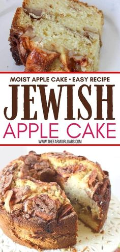 This Jewish Apple Cake recipe is moist and packed with sweet apples and cinnamon. This easy apple cake has a crunchy apple cinnamon topping. Be sure to grab a slice before it's all gone. This Jewish Apple Cake recipe is moist and packed with sweet apples and cinnamon. This easy apple cake recipe is our family's favorite and is a delicious apple cake that taste's just like fall. Apple Bundt Cake Recipes, Moist Apple Cake, Apple Cinnamon Cake, Easy Apple Cake, Apple Coffee Cakes, Easy Cake Recipes, Apple Recipes, Baking Recipes, Jewish Apple Cake Recipe Bundt