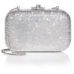 Judith Leiber Crystal-Embellished Clutch ($2,060) ❤ liked on Polyvore featuring bags, handbags, clutches, apparel & accessories, chain handle handbags, chain strap handbag, judith leiber clutches, metallic purse and sparkly purses