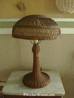 Beautiful reed wicker table lamp from the early 1920s.