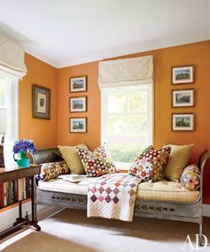 Cullman & Kravis ~ In designer Elissa Cullman's Connecticut home, a 19th-century daybed from Galerie Xavier Nicolas is dressed with an antique quilt from Woodard & Greenstein.