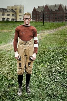The Player (Colorized): 1920 – American Football Football Uniforms, Nfl Football, College Football, Football Costume, Alabama Football, American Football Players, American Sports, American Games, Understanding Football