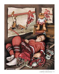 Between Periods, Young Hockey Player Signed Sports Fine Art Print Hockey Decor, Hockey Pictures, Hockey Mom, Hockey Stuff, Sports Figures, Detroit Red Wings, Hockey Players, Just A Game, Cat Art
