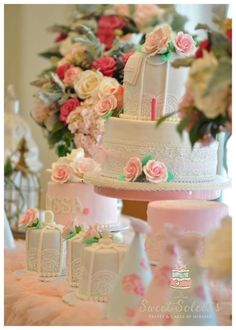 Gorgeous vintage shabby chic birthday party desserts! See more party planning ideas at CatchMyParty.com!
