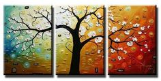 Abstract Art, Abstract Painting, Canvas Painting, Wall Art, Large Painting, Living Room Wall Art, Modern Art, 3 Piece Wall Art, Tree Painting, Tree of Life