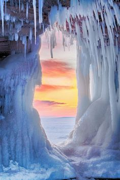 Sunset on Lake Superior from inside ice cave