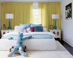 not my style but like use of color in curtains and lights