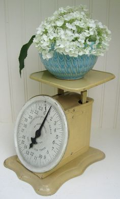 Antique Scale Home Decor Shabby White Vintage Metal by PoemHouse, $42.00