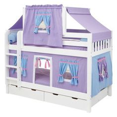 Hot Shot Girl Twin over Twin Deluxe Tent Bunk Bed Soft Pink & White Tent - MXTX149-1, Durable