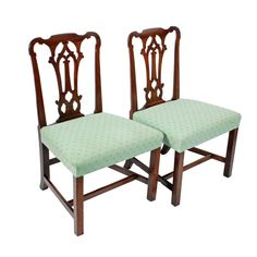 18th Century Black Walnut Chairs   A pair of 18th century Georgian black walnut chairs.  The chairs have broad seats and back with a shaped top rail and pierced central splat.  The legs are square and joined by a 'H' cross stretcher, the back legs kick out.  The chairs have a stuff over seat covered in a contemporary green colour material.  The chairs are a good colour and in good condition. (Circa 1750)  Height 94cm (37 inches) Width 60cm (23.6 inches) Depth 56cm (22 inches)  Walnut Chair, Antique Chairs, Georgian, 6 Inches, Green Colors, 18th Century, Armchair, Dining Chairs, Colour