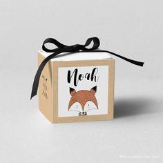 """Boîte à dragées sur fond imitation papier kraft et """"Little Fox"""" - Modèle Noah"""