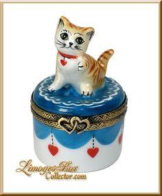 Playful Kitty Cat on Blue Base Limoges Box (Beauchamp)