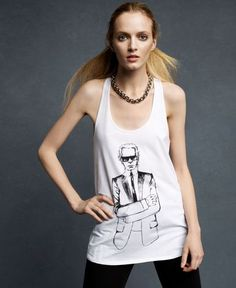 dc7126ee60468f Karl Lagerfeld New White Print Graphic Racerback Sleeveless Tank Top
