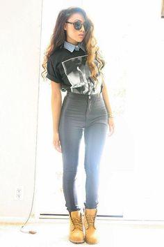 Sleeveless Chambray, Ramones T-Shirt, High Waisted Skinny Jeans, & Timbs.
