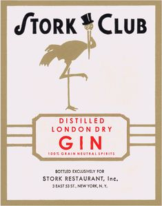 Stork Cub Liquor Label Gin 1940s Vintage Menu, Art Vintage, Vintage Art Prints, Menu Illustration, Menu Printing, London Dry Gin, Stork, Menu Restaurant, All Print