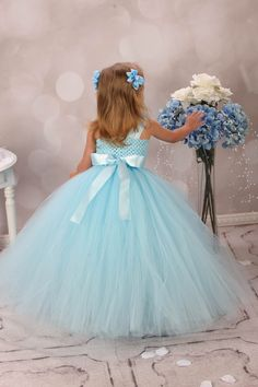 Blue Rhinestone Couture Flower Girl Tutu Dress by krystalhylton