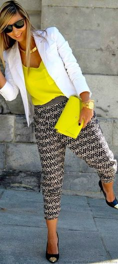 black/white tribal pants, yellow tank, white blazer