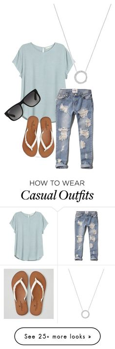 """Casual"" by autumn-thiel on Polyvore featuring H&M, Abercrombie & Fitch, American Eagle Outfitters, Michael Kors, Ray-Ban, women's clothing, women's fashion, women, female and woman"