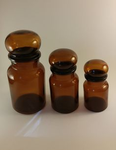 Vintage Amber Glass Apothecary Pharmacy Display Jars Bubble/Mushroom Lids by MooskerdooGlass on Etsy