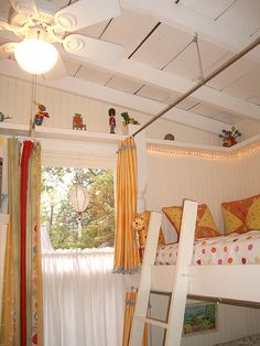 Maybe put up curtains on the bunk beds for D and K's room??