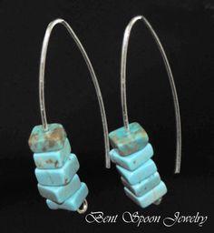 Turquoise Earrings Sterling Silver Earrings by Bentspoonjewelry, $24.00