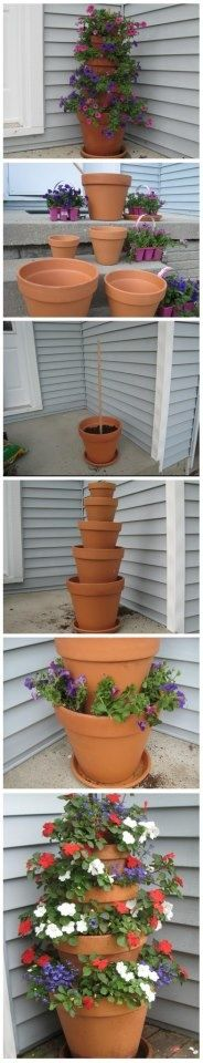 Tiered pots for a beautiful flower or even herb patio piece. We made this for my grandma for mothers day! It was really simple!