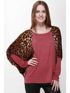 812ab5dc4f277 Scoop Neck Color Splicing Leopard Print Long Sleeves Loose-Fitting Women s  Sweater Sweaters For Women