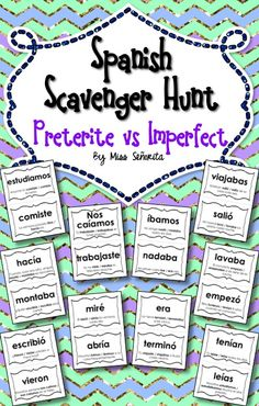 scavenger hunt activity - students have to choose between the preterite and imperfect in sentences Spanish Grammar, Spanish Teacher, Spanish Classroom, Verbal Tenses, Imperfect Spanish, Preterite Spanish, Spanish Practice, Verb Forms, Spanish Teaching Resources