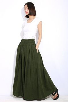 7ade02a615df Army Green Plus Size Skirt - Khaki Long Maxi Casual Everyday Comfortable  Handmade Skirt with Elastic
