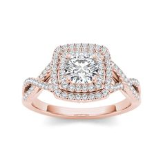 @Overstock - De Couer 14k Rose Gold 1 1/10ct TDW Diamond Double Halo Criss-cross Shank Engagement Ring (H-I, I2) - Give her a glittering gift of love, symbolic of your past, present and future together. This ring is  beautifully crafted rose gold, radiant with diamonds and buffed to a bright luster, perfect for your getting engaged ...