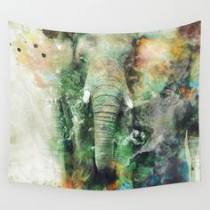 Wall Tapestry: Watercolor Elephant by RIZA PEKER