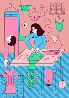 Girls! Girls! Girls! Martina Paukova illustrates a two-dimensional ode to the beauty of domestic mundanity...