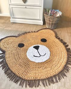 DIY crochet projects, crochet home decor ideas, cr Crochet Mat, Crochet Carpet, Cute Crochet, Crochet For Kids, Crochet Dolls, Animal Rug, Bear Rug, Knit Rug, Crochet Home Decor