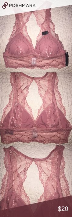 Gorgeous pink lace Bralette Gorgeous pink lace Bralette. Has removable pads so you can adjust to your comfort . Front has a flattering v neck cut . Perfect to wear under tank tops . Has gold clasp around the neck for a snug fit . And adorable cut out detail in the back . Never worn Sophie B Intimates & Sleepwear