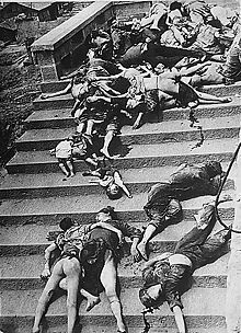 Casualties of a mass panic during a June 1941 Japanese bombing of Chongqing. More than 5000 civilians died during the first two days of air raids in 1939