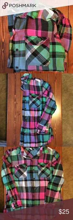 Softest! UO flannel shirt The Softest! BDG for Urban Outfitters button-down flannel shirt. Shirt is more fitted. Pink, blue and green flannel. Split hem. Great condition. Size medium. Urban Outfitters Tops Button Down Shirts
