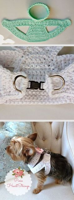 Extra-small pet harness, free pattern with photos by Pixie. Dog pictured weighs less than 5 lbs. Pattern can be adjusted. #crochet
