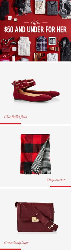 Make shopping easier on your wallet (and sanity) with these gift ideas for under $50. Chic ballet flats are perfect for the woman on your list who is always on the go. If she loves to laugh, a playful wallet is a must. The cross-body bag is perfect for the style maven on your list.