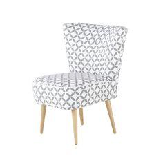 Fauteuil vintage à motifs en coton gris et blanc Scandinave