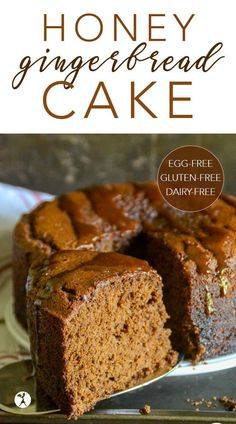 Gluten-Free Honey Gingerbread Cake :: dairy-free, egg-free This Honey Gingerbread Cake is perfectly spiced with deep tones of ginger and molasses. It's a wonderful holiday treat made healthier! Egg Free Desserts, Gluten Free Deserts, Egg Free Recipes, Gluten Free Sweets, Gluten Free Cakes, Foods With Gluten, Gluten Free Baking, Dessert Recipes, Gluten Free Xmas Cake