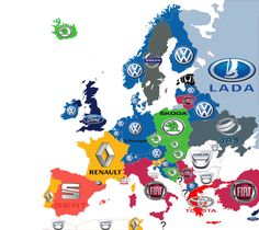 These are the top-selling cars in each country. 28 Maps That Will Completely Change The Way You View Europe European Map, European History, Funny Maps, Volkswagen, Sketch Note, Most Popular Cars, Geography Map, Country Names, Car Brands