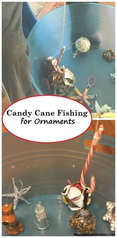 Candy Cane Fishing -- Christmas Minute to Win It kids activity, fishing with candy canes for ornaments
