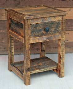 I love reclaimed barn wood! This rustic nightstand was handcrafted from 100% reclaimed Montana barn wood. It features a solid alder drawer with dovetail joints, riding on soft-close, full extension ball bearing slides.