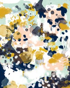 Sloane - Abstract painting in modern fresh colors navy, mint, blush, cream, white, and gold Art Print