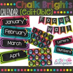 Are you using a black and bright theme or chalkboard theme in your classroom? This calendar is absolutely adorable! And it's editable! Your students will love the beautiful colors in this classroom theme!Complete the Set:Black and Bright Word WallChalk Bright Number LineChalkboard Theme Shapes and ColorsCheck out the bundle and SAVE here!Chalkboard Black and Bright Class Dcor Bundle