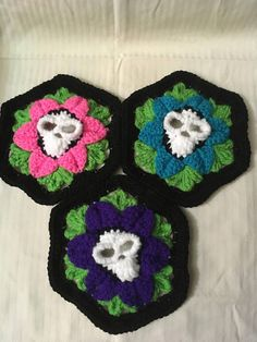 3D Death Flower Granny Square 3 in 1