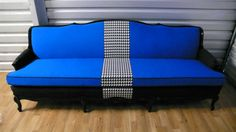 Blue Black Houndstooth French Regency Sofa Couch