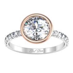 Bezel Set Diamond Engagement Ring with Pave Diamond Band